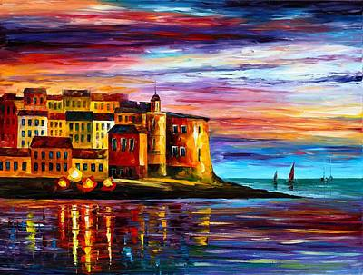 Mood Painting - Italy  Liguria by Leonid Afremov