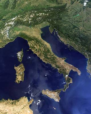 Italy, Satellite Image Art Print