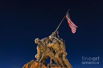 U.s.a. Flag Photograph - Iwo Jima Memorial by John Greim