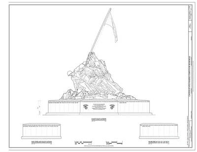 Iwo Jima Drawing - Iwo Jima Memorial by Marines