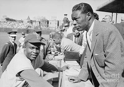 Vocal Photograph - Jackie Robinson And Nat King Cole At Wrigley Field by The Harrington Collection