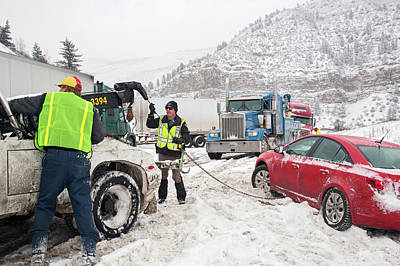 Patrol Cars Photograph - Jackknifed Truck Blocking Highway by Jim West
