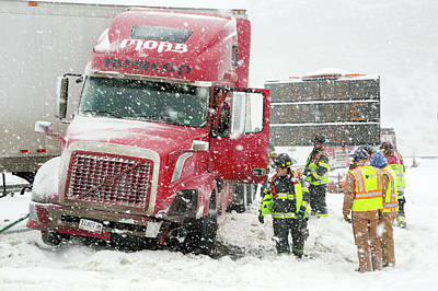 First Responders Photograph - Jacknifed Truck Blocking Highway by Jim West