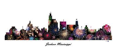 Etc. Digital Art - Jackson Mississippi Fireworks Skyline by Gregory Murray