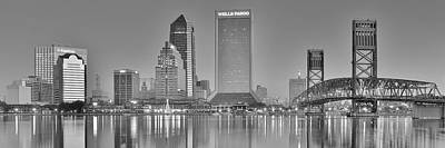 Photograph - Jacksonville Florida Black And White Panoramic View by Frozen in Time Fine Art Photography