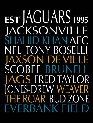 Digital Art - Jacksonville Jaguars by Jaime Friedman