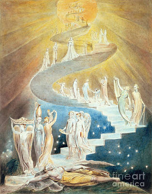 Genesis Painting - Jacob's Ladder by William Blake