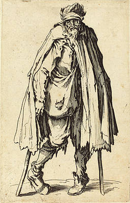 Crutch Drawing - Jacques Callot French, 1592 - 1635, Beggar With Crutches by Quint Lox