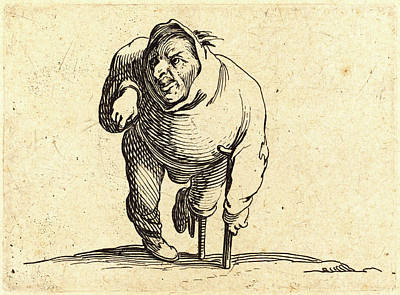Crutch Drawing - Jacques Callot, French 1592-1635, Cripple With Crutch by Litz Collection