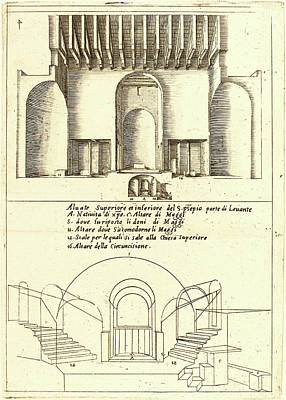 Manger Drawing - Jacques Callot, French 1592-1635, Elevation Of The Church by Litz Collection