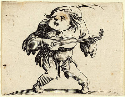 Guitar Player Drawing - Jacques Callot French, 1592 - 1635, The Guitar Player by Quint Lox