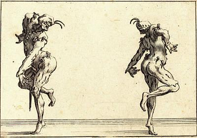Jacques Callot, French 1592-1635, Two Pantaloons Dancing Art Print