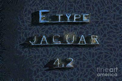 Jaguar E Type 4.2 Logo Art Print