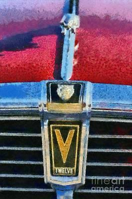 Vehicle Painting - Jaguar V12 Badge by George Atsametakis