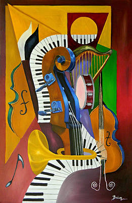 Trumpet Painting - Jammin With Jc by Brien Cole