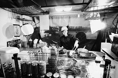 Hotdog Stands Photograph - japadog fast food preparing hot dog stand stall on granville street Vancouver BC Canada by Joe Fox