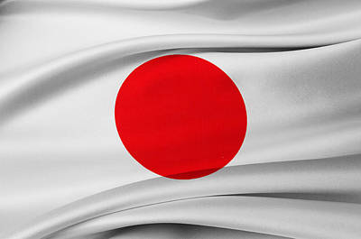 Waving Flag Photograph - Japanese Flag by Les Cunliffe