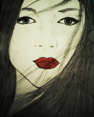 Drawing - Japanese Geisha by Shruti Prasad