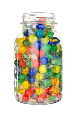 Child Toy Photograph - Jar Of Marbles by Jim Hughes
