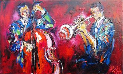 Jazz Duo- Ideal For Jazz Venues Print by Mary Cahalan Lee- aka PIXI