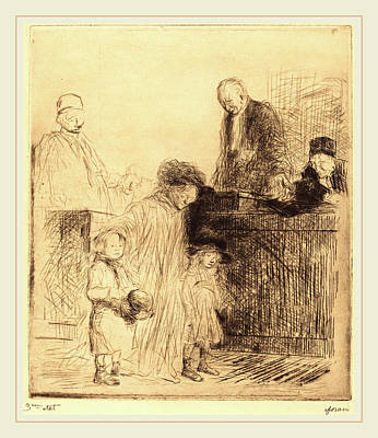 Jean-louis Forain, Coming Out Of The Hearing First Plate Art Print by Litz Collection