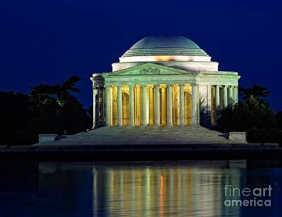 Photograph - Jefferson Memorial At Night by Nick Zelinsky