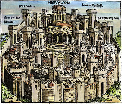 Medieval Temple Painting - Jerusalem Temple, 1493 by Granger