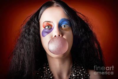 Photograph - Jester Girl Blowing Bubblegum Ball by Jorgo Photography - Wall Art Gallery