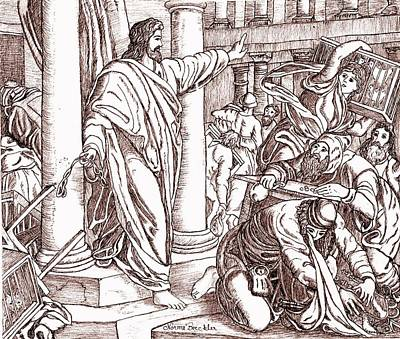 Sepia Ink Drawing - Jesus Cleansing The Temple by Norma Boeckler