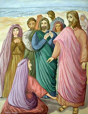 Saviour Mixed Media - Jesus Heals The Woman by Thecla Correya