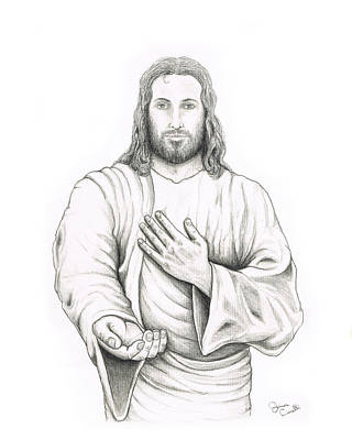 Pencil Drawing Of Jesus Drawing - Jesus Offering His Hand by Jaison Cianelli