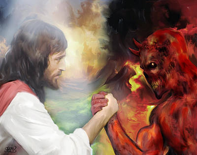 Wrestle Painting - Jesus Vs Satan by Mark Spears