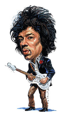 Musicians Paintings - Jimi Hendrix by Art