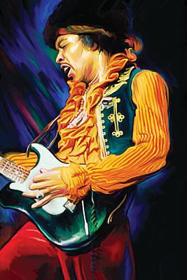 Portraits Mixed Media - Jimi Hendrix Artwork by Sheraz A