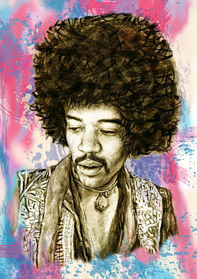 Jimi Hendrix Stylised Pop Art Drawing Potrait Poster Art Print by Kim Wang