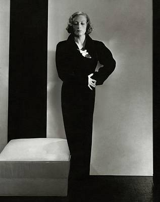 Studio Shot Photograph - Joan Crawford Wearing A Schiaparelli Dress by Edward Steichen
