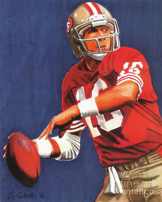 Sf 49ers Drawing - Joe Montana by Cory Still