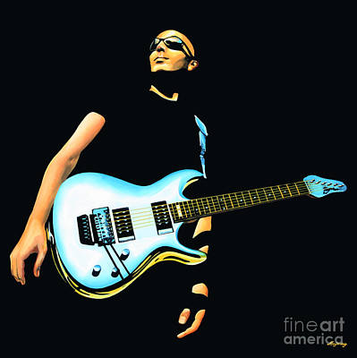 Celebrities Painting - Joe Satriani Painting by Paul Meijering