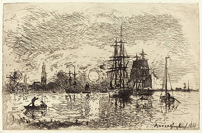 Soleil Couchant Drawing - Johan Barthold Jongkind Dutch, 1819 - 1891 by Quint Lox