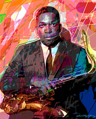 Saxophone Player Painting - John Coltrane by David Lloyd Glover