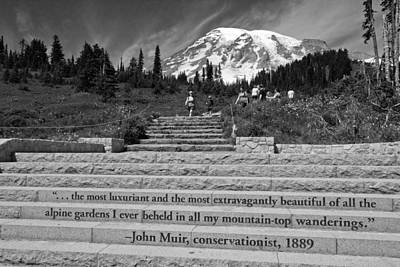 Photograph - John Muir Quote At Mt Rainier by Bob Noble