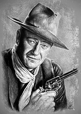 Film Star Drawing - John Wayne  by Andrew Read