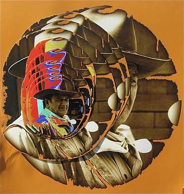 Comic Character Paintings - John Wayne Andy Warhol Inspired Rio Lobo Variation 3 Collage Old Tucson Arizona 1970 by David Lee Guss