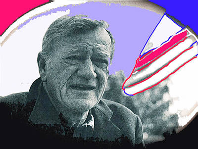 Shootist Photograph - John Wayne Out Of Costume With Flag by David Lee Guss