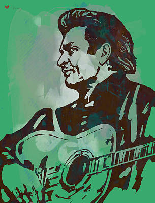 Johnny Cash Mixed Media - Johnny Cash - Stylised Etching Pop Art Poster by Kim Wang