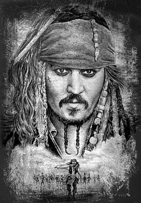 Sparrow Drawing - Johnny Depp by Andrew Read