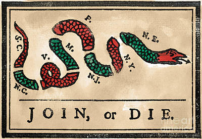 Painting - Join Or Die Cartoon 1754 by Benjamin Franklin
