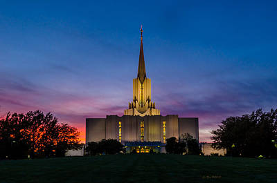 Jordan River Temple Sunset Art Print by La Rae  Roberts