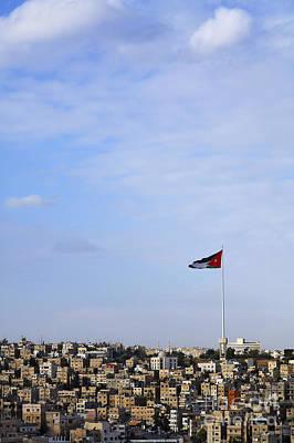 Jordanian Photograph - Jordanian Flag Flying Over The City Of Amman Jordan by Robert Preston