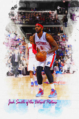 Josh Smith Of The Detroit Pistons Original by Don Kuing